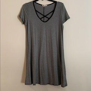 Black and grey striped shirt sleeve dress